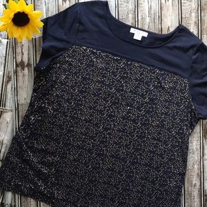 Liz Claiborne navy sequin top